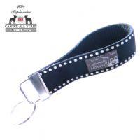 WRISTLET KEYCHAIN - WHITE SADDLE STITCH ON BLACK